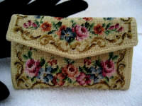 Petit point change coin purse 1920 1930 made in Austria