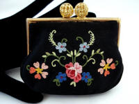 Vintage French satin embroidered change purse