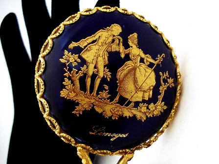 Gold stenciled vintage Limoges purse hand mirror