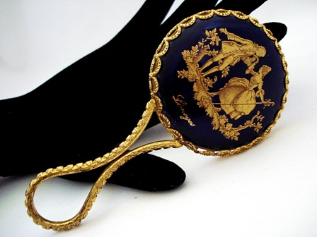 French Limoges purse hand mirror gold and cobalt blue