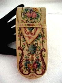 Victorian petit point eye glass case late 1800's micro petite point