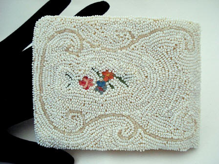 Glass beaded and embroidered vintage ladies wallet