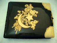 Antique Victorian celluloid photo album embossed moon and stars