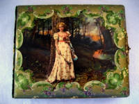 Antique Victorian celluloid photo album lady in the forest
