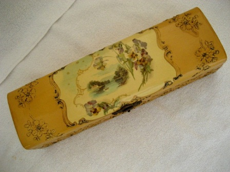 Antique celluloid vanity glove box country scene