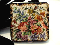 Petit point powder compact unused made in Austria 1940's