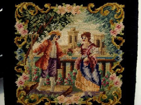 Austrian petit point ladies powder compact
