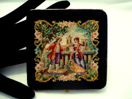 Austrian figural petit point powder compact