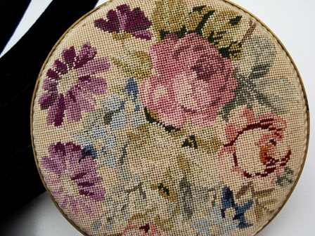 Vintage petit point powder compact made in Austria