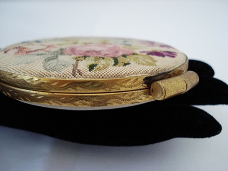 Austrian petit point powder compact with embossed brass case