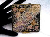 Austrian micro petit point ladies loose powder compact Victorian lace