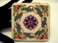 Large petit point powder compact made in Austria 1940's unused