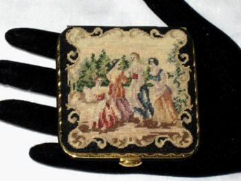 Vintage powder compact figural petit point