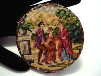 Vintage 1940 figural scenic petit point unused powder compact