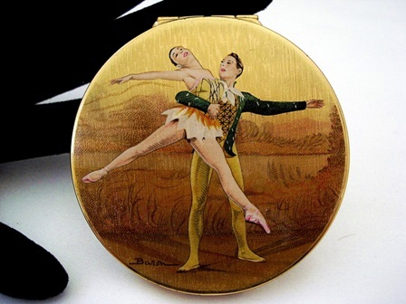 Vintage 1950 Stratton compact ballet dancers by Baron
