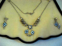 Vintage 1950's sterling silver filigree and baby blue rhinestone necklace earring set
