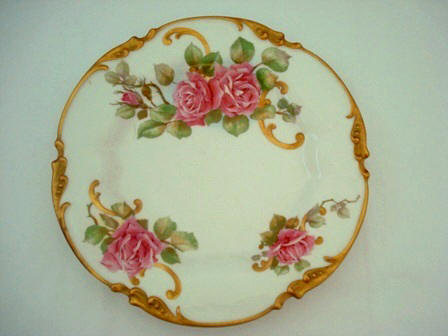 French Limoges plate roses and gold gilt antique