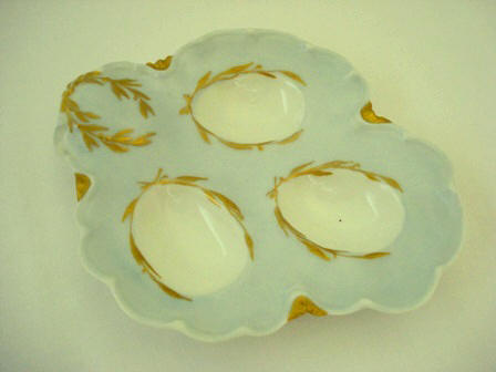 Antique Limoges 3 well egg plate tray dish