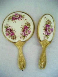 Ar Nouveau vanity hand mirror brush set with purple cabbage roses and daisies