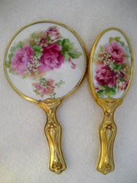 Art Nouveau antique vanity hand mirror brush set with pink roses and lily of the valley