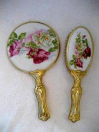 Antique Art Nouveau vanity hand mirror brush set white pink burgundy large roses ca.1900