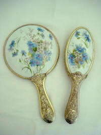 Victorian porcelain hand mirror brush vanity set with blue floral pattern