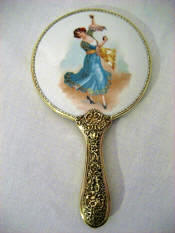 Antique porcelain vanity hand mirror lady castanet dancer