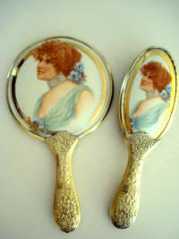 Antique Rosenthal German lady portrait hand mirror and brush vanity set