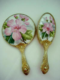 Antique French Limoges hand painted mirror brush vanity set