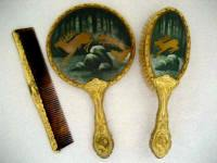 Antique Hand Mirrors Brushes Vintage Vanity Mirror Brush Set