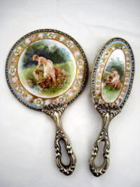 Antique Art Nouveau porcelain hand mirror brush vanity set scenic portrait