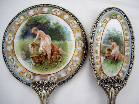 Antique hand mirror brush dresser set scenic portrait on porcelain