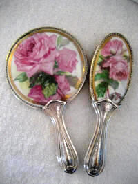 Antique Art Nouveau hand mirror brush vanity set pink roses