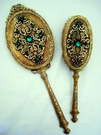 Antique hand mirror brush set Dore gilt metal with emerald stones