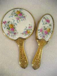 Antique Victorian hand mirror brush vanity set pink yellow roses