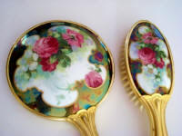 Antique hand mirror brush vanity set roses