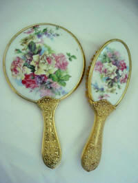 Victorian porcelain hand mirror brush vanity set roses and violets