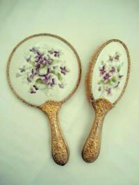 Antique Victorian mirror brush set with violets late 1800's