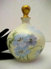 Austrian porcelain perfume bottle hand painted blue fowers