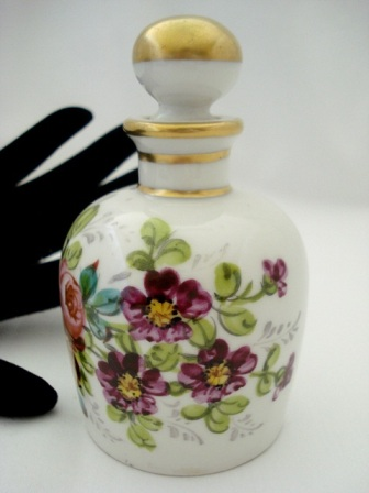 Hand painted French porcelain perfume bottle