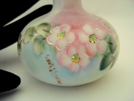 Pink blossoms hand painted perfume bottle made in Germany