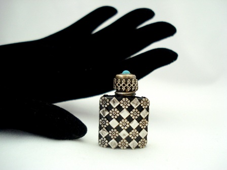 Miniature French Perfume Bottle Black Amethyst Vintage