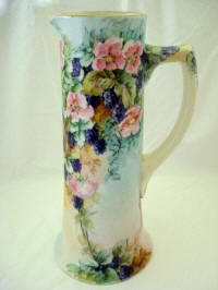 Antique Austrain hand painted blackberry tall tankard