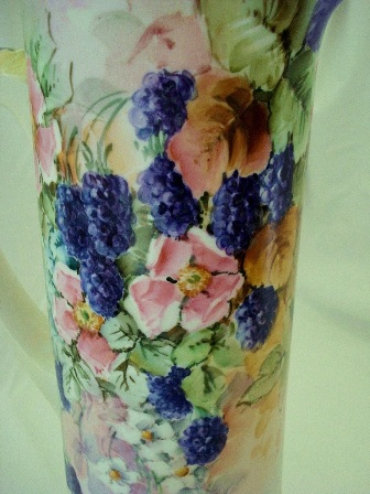 Tall hand painted blackberry tankard from Austria