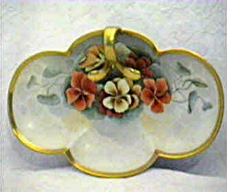 Austrian hand painted serving tray with handle