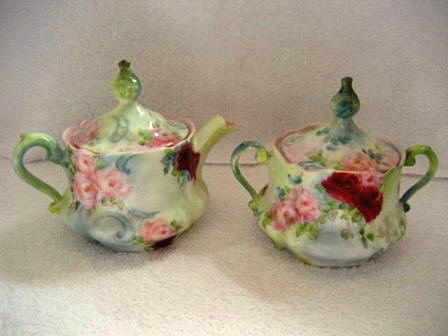 Bavarian hand painted covered creamer and sugar bowl lush all over roses late 1800's mark