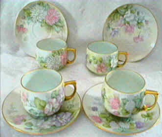 Hand painted cups and saucer sets Czechoslovakia