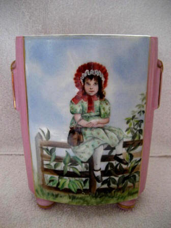 Antique hand painted cache pot with young girl scene late 1800's
