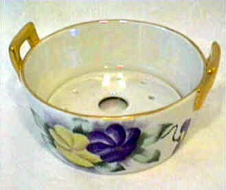 Pansy hand painted butter tub Buffalo Pottery