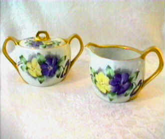 Hand painted sugar and creamer set Silesia Germany